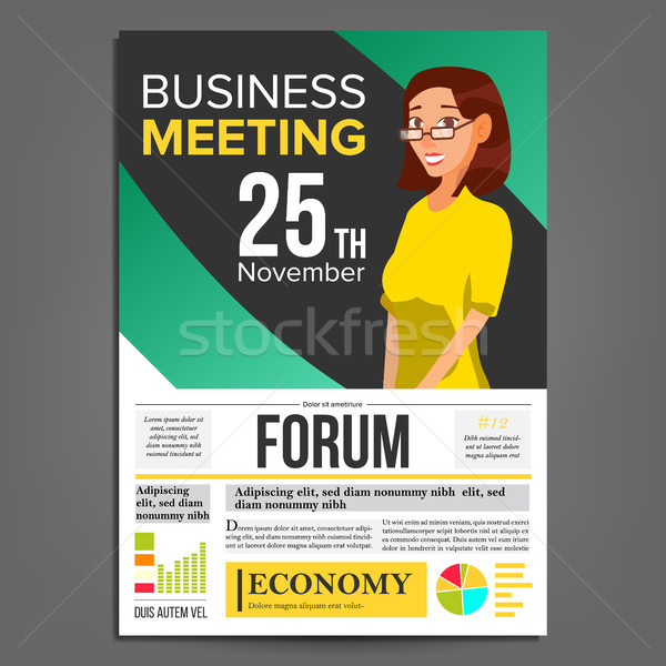 600x600 Business Meeting Poster Vector. Business Woman. Invitation And