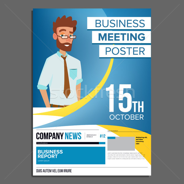 600x600 Business Meeting Poster Vector. Businessman. Invitation For