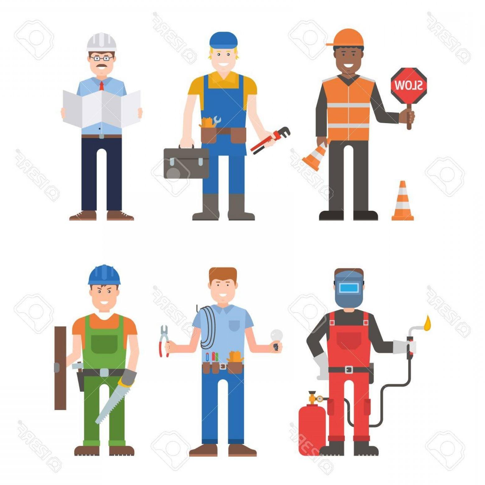 1560x1560 Photostock Vector Construction Worker Wearing Yellow Helmet And