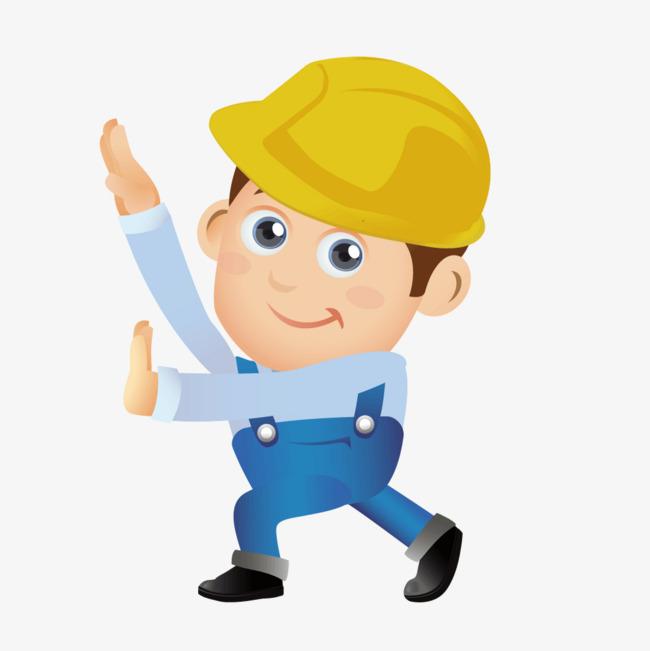 650x651 Yellow Cartoon Construction Worker, Cartoon Vector, Construction