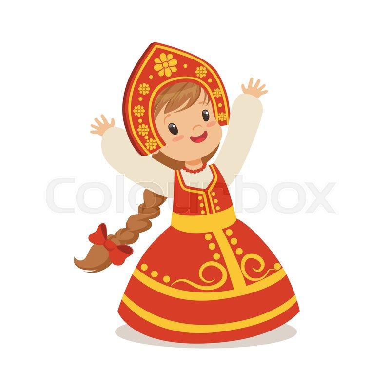 800x800 Cute Girl Wearing Red Sarafan And Kokoshnik, National Costume Of