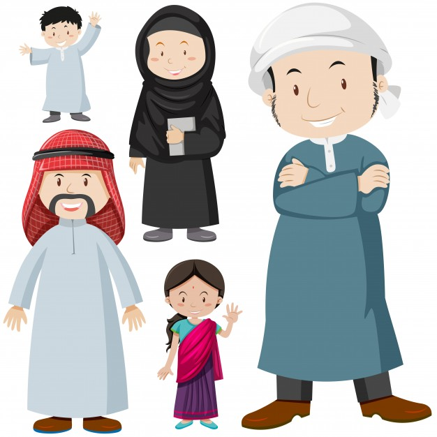 626x626 Muslim People In Traditional Costume Illustration Vector Free