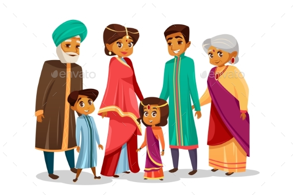 590x393 Vector Cartoon Indian Family In National Costume By Vectorpouch