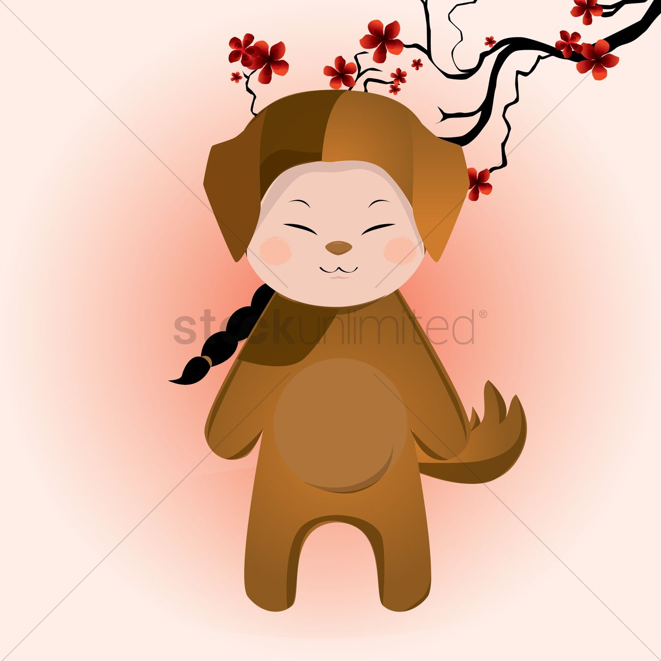 1300x1300 Boy Wearing Dog Costume Vector Image