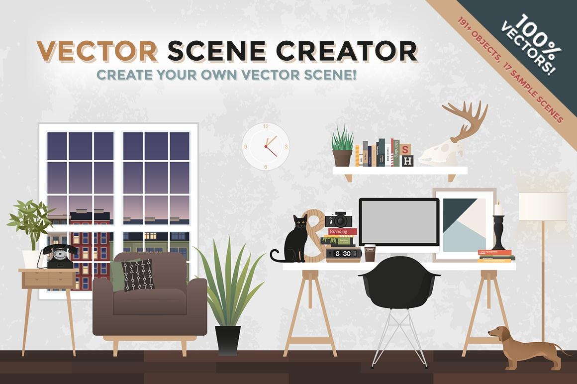 1160x772 Vector Interior Scene Creator