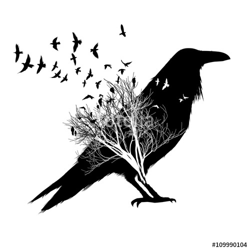 500x500 Crow Silhouette, With Double Exposure Effect Of Flying Birds And