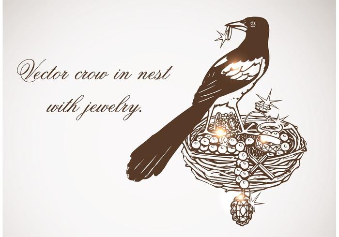 700x490 Vector Crow In Nest With Jewelry