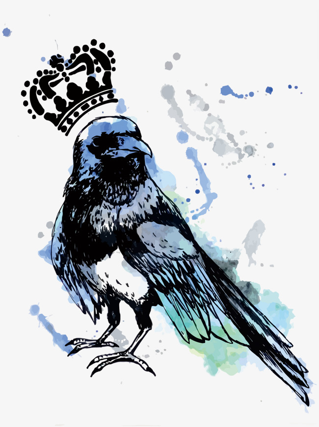 650x868 Vector Crow King, Crow, Crown, Hand Painted Png And Vector For
