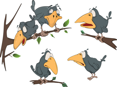 493x368 Vector Crow Cartoon Free Vector Download (16,423 Free Vector) For