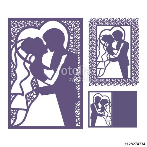 497x500 Bride And Groom Silhouette. Laser Cut Invitation. Vector Postcard
