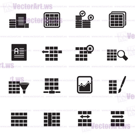 456x456 Silhouette Database And Table Formatting Icons
