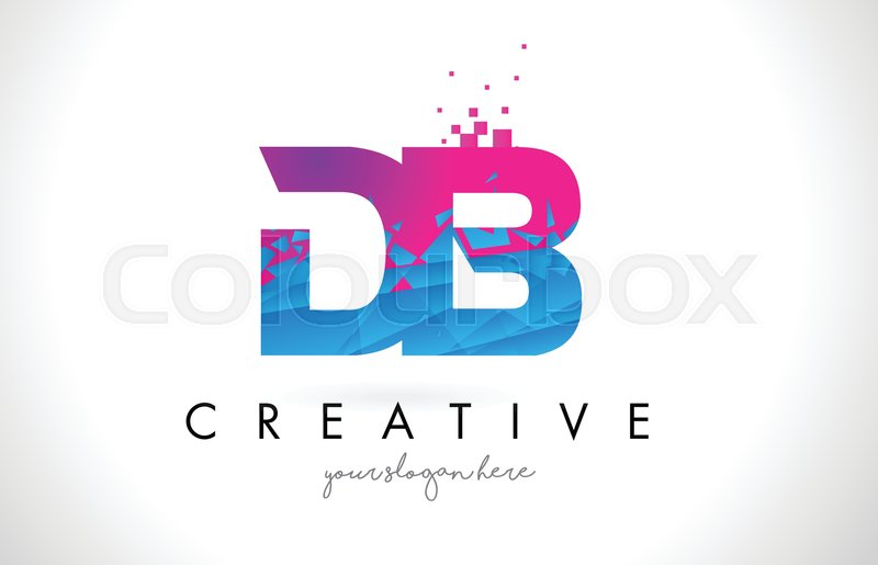 800x515 Db D B Letter Logo With Broken Shattered Blue Pink Triangles