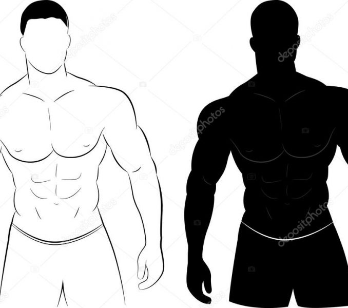 678x600 Silueta Hombre Musculoso Silueta Del Hombre Del Msculo Vector De