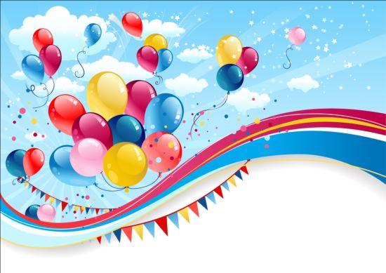 550x389 Bright Birthday Background Design Vector 06 Free Download
