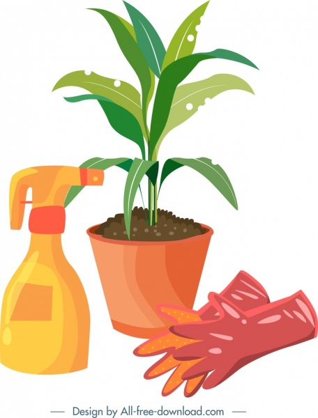 456x600 Gardening Design Elements Plant Gloves Sprayer Icons Free Vector