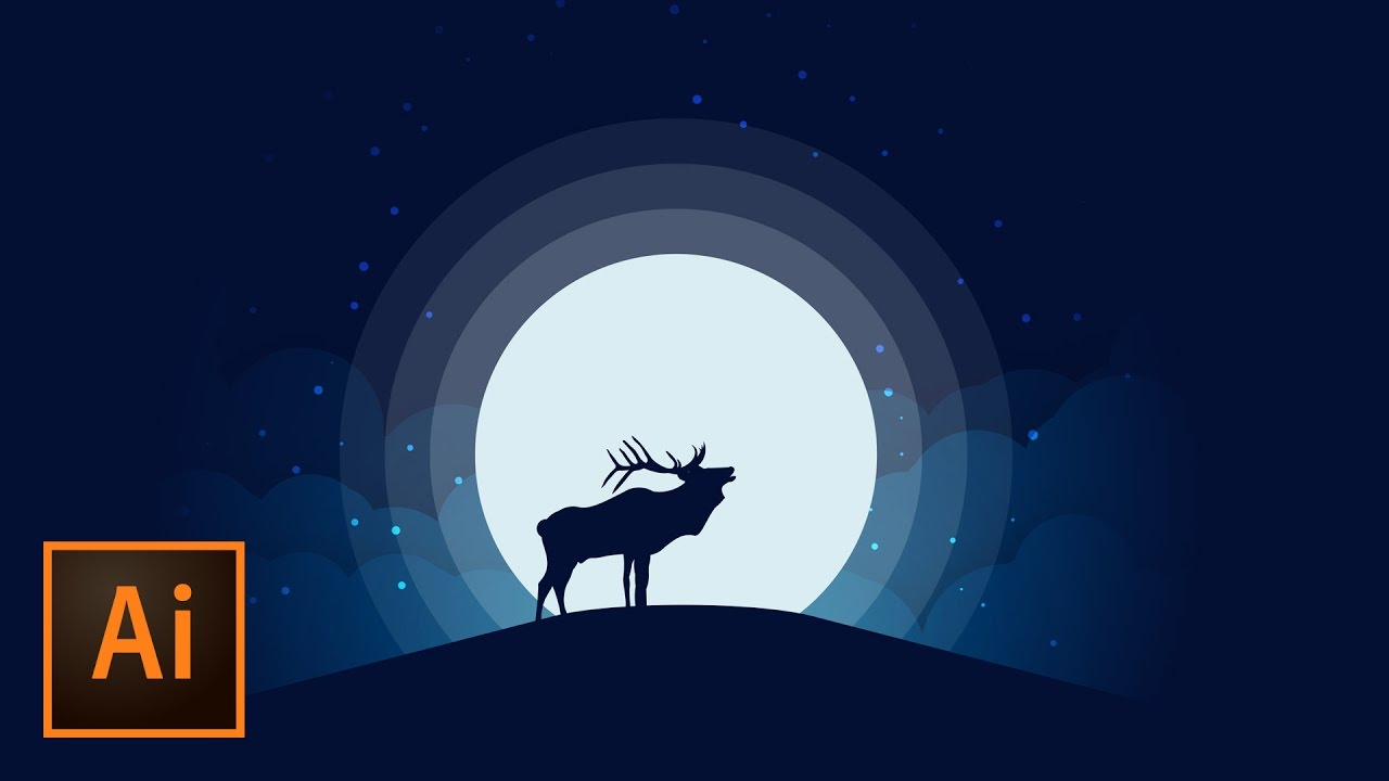 1280x720 Animal Silhouette Moonlight Vector Illustration