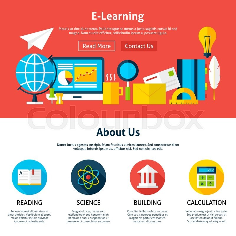 800x800 Electronic Learning Flat Web Design Template. Vector Illustration