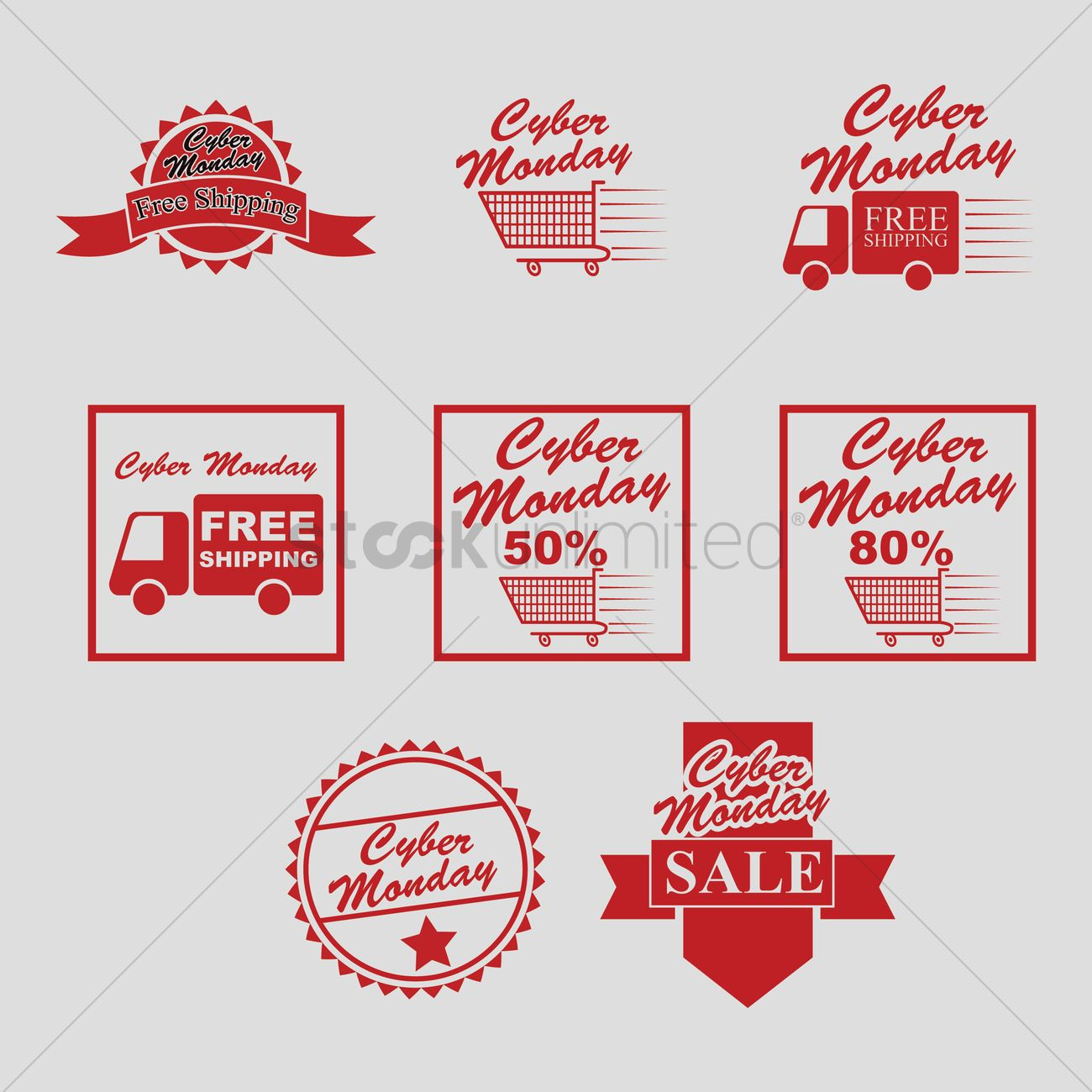 1300x1300 Collection Of Cyber Monday Sale Designs Vector Image