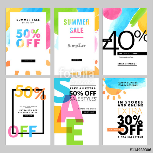 500x500 Set Of Social Media Sale Banners Template. Hand Drawn Vector