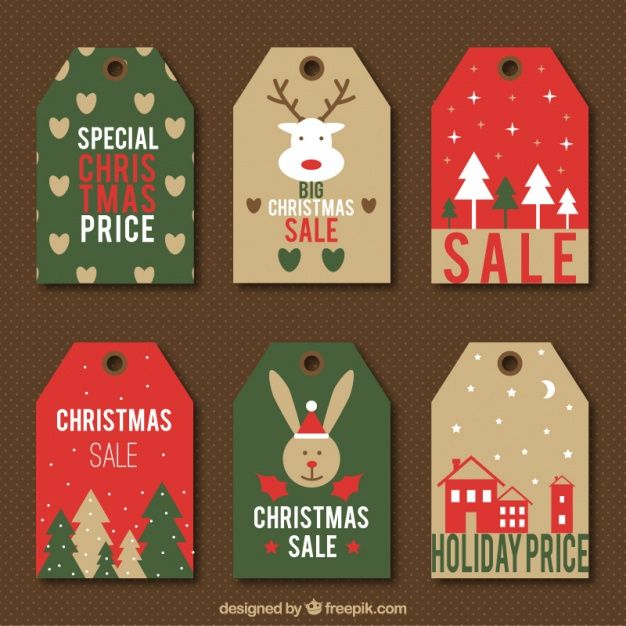626x626 Six Vintage Sale Labels With Cute Christmas Designs Free Vector