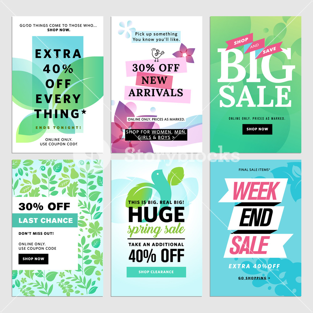 1000x1000 Spring Social Media Sale Banners. Vector Illustrations Of Online