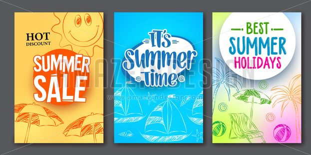 623x310 Summer Sale And Summer Time Vector Web Poster Designs Set