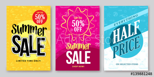 500x250 Summer Sale Vector Banner Designs Set For Season Shopping Discount