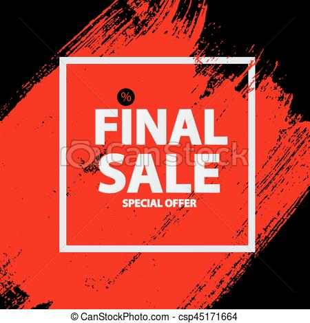 450x470 Abstract Brush Stroke Designs Final Sale Banner With Frame. Vector
