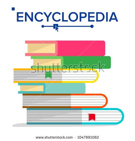 450x470 Encyclopedia Pile Vector. Books Stack With Bookmarks. Science