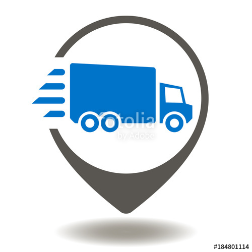 500x500 Truck Map Pointer Icon Vector. Supply Chain Management And