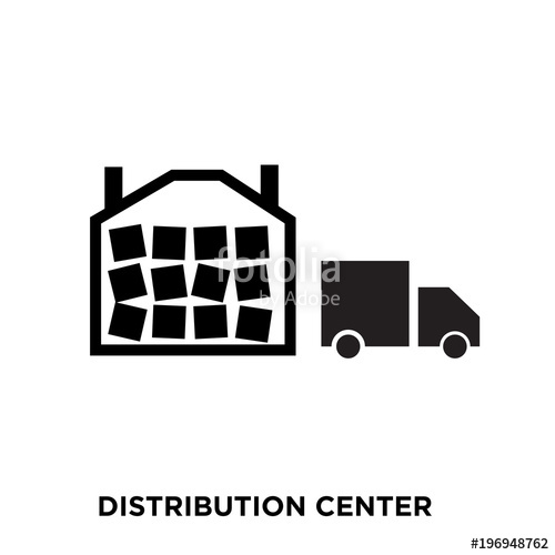 500x500 Distribution Center Icon On White Background, In Black, Vector