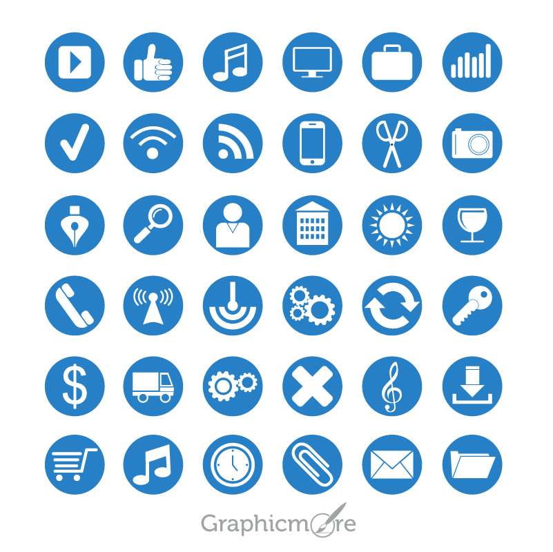 801x800 36 Flat Icons Set Design Free Vector Download By Graphicmore
