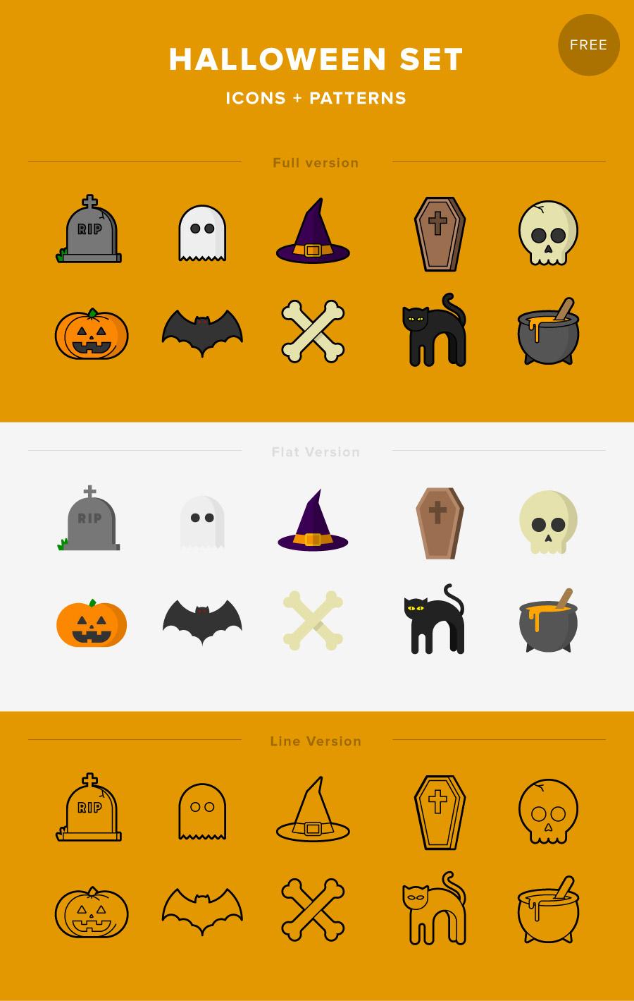 900x1419 Halloween Set (Icons + Patterns) Free Download