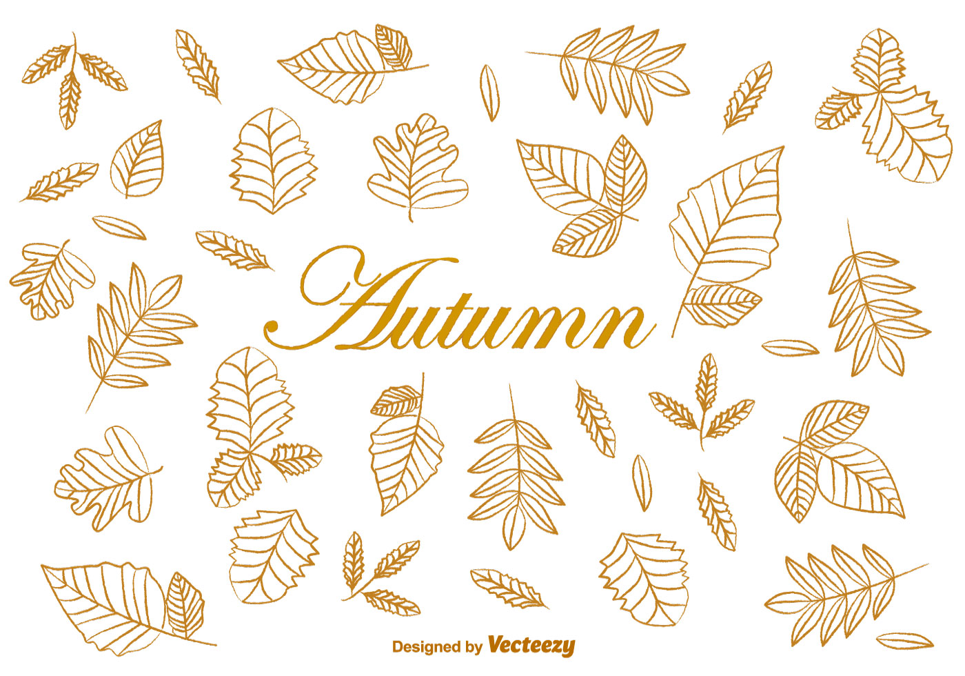 1400x980 Doodle Autumn Brown Leaves Vectors