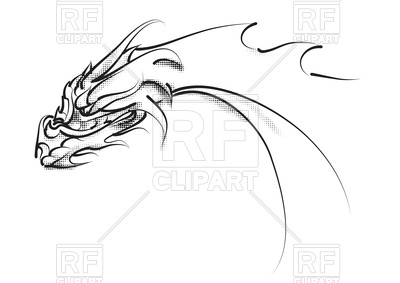 400x283 Dragon Head Tatoo Isolated On A White Background Vector Image