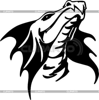 396x400 Dragon Head Tattoo Stock Vector Graphics Cliparto