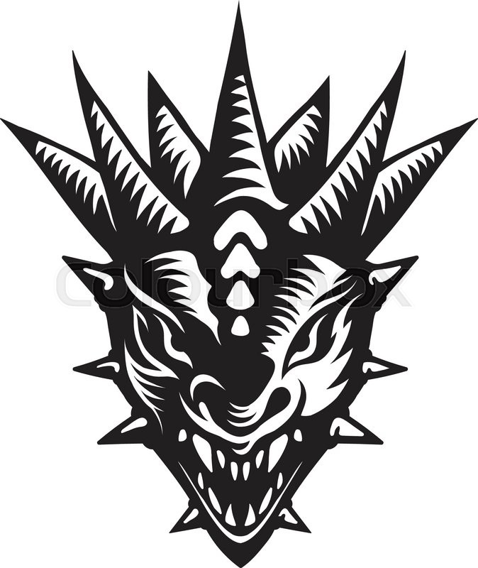 674x800 Graphic Vector Illustration Of The Dragons Head. Stock Vector