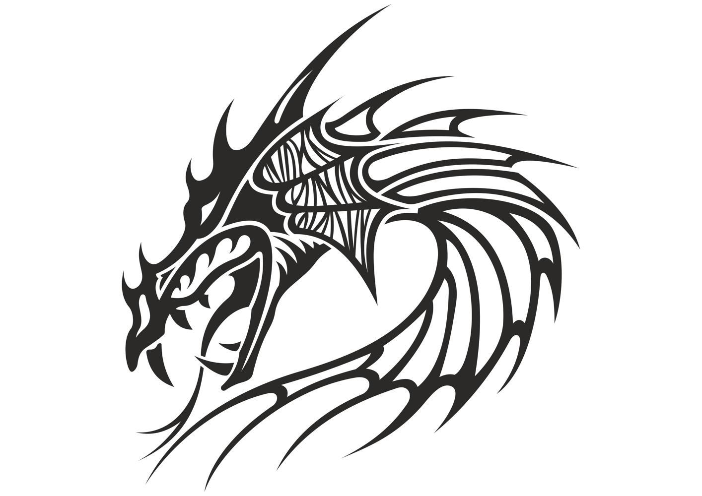 1414x1000 Chinese Dragon Head Tattoo Vector Download Free Vector For Cnc