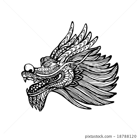 450x446 Vector Of Chinese Dragon Head In Zentangle Style