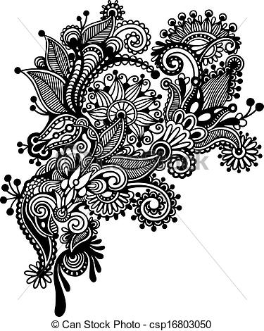375x470 Hand Draw Black And White Line Art Ornate Flower Design. Ukrainian