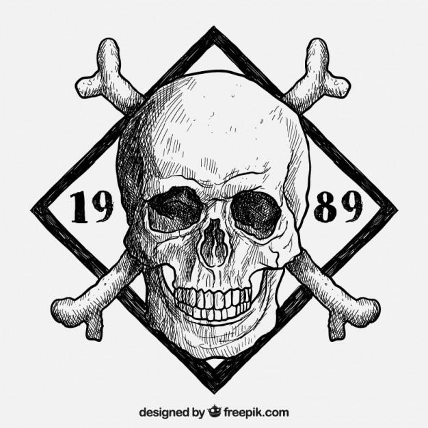 626x626 Hand Drawn Skull Insignia Vector Free Download