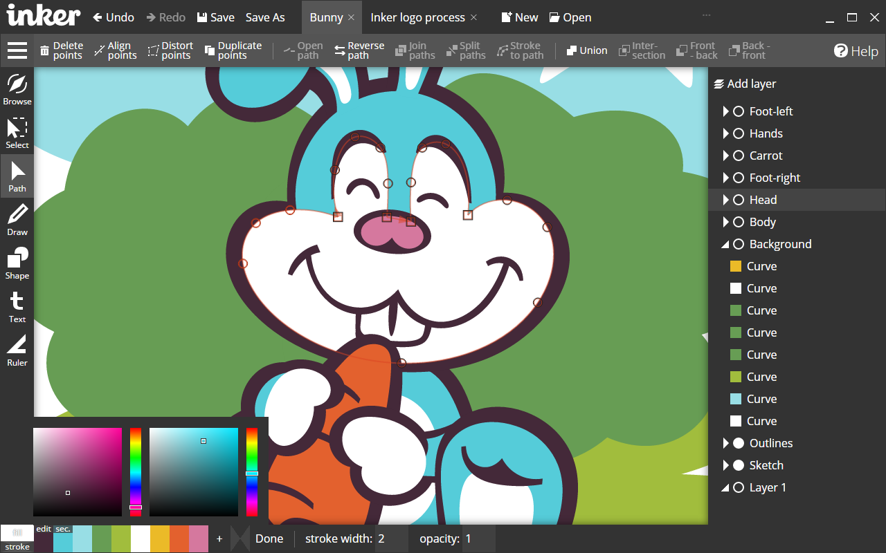 1280x800 Inker. Vector Graphics Editor. Best Tool For Vector Drawing And