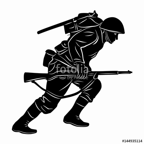 500x500 Illustration Of A Running Soldier, Vector Draw Stock Image And