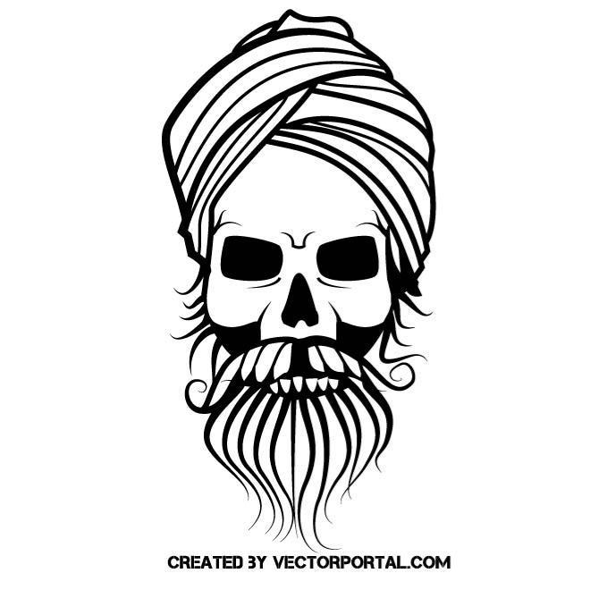 660x660 Fakir Skull Vector Drawing By Vectorportal