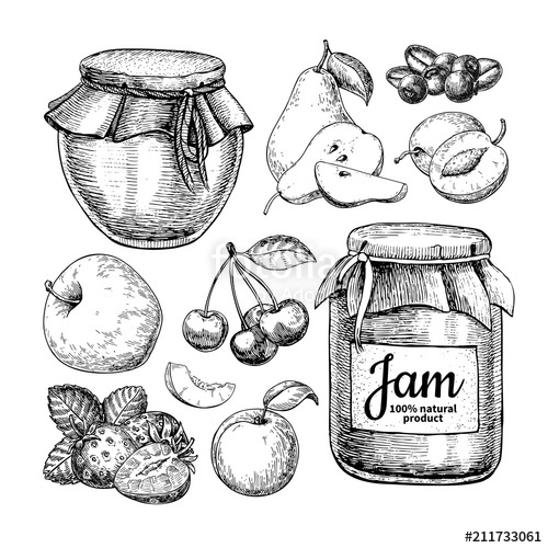500x500 Fruit Jam Glass Jar Vector Drawing. Jelly And Marmalade With Str