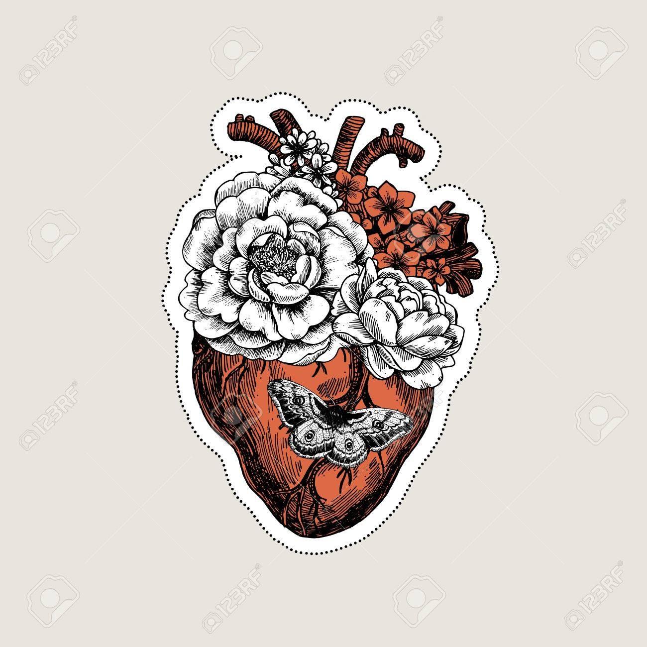 1300x1300 87516195 Tattoo Anatomy Vintage Illustration Floral Anatomical