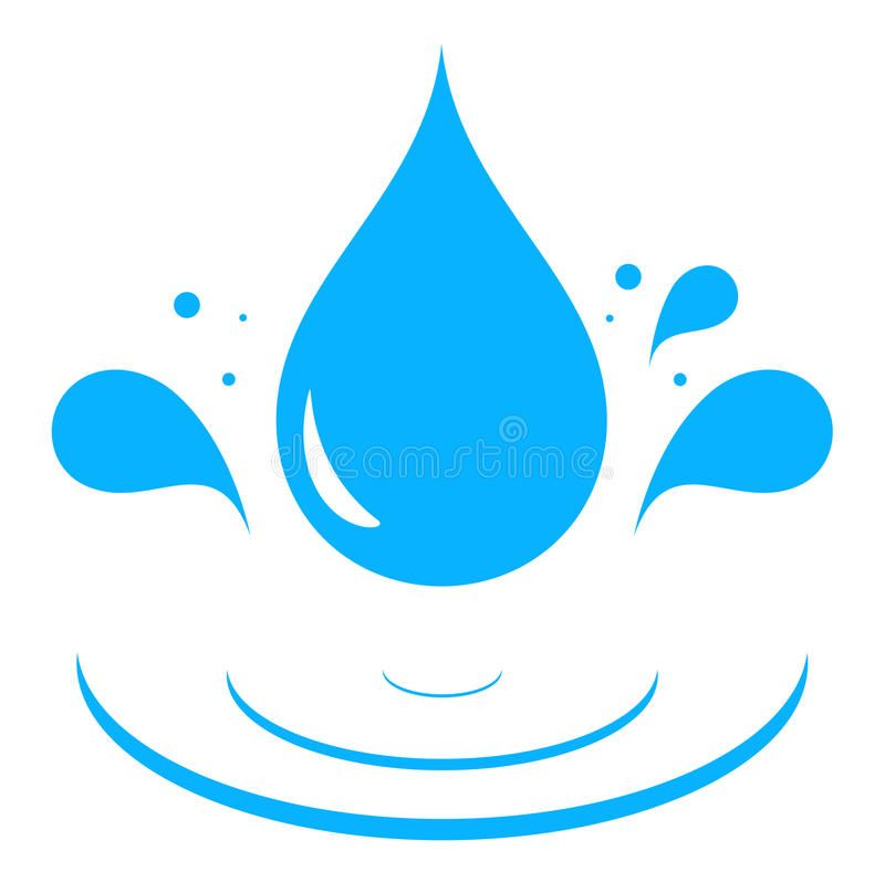 800x808 Water Droplet And Grass Vectors Icon With Blue Water Drop Stock