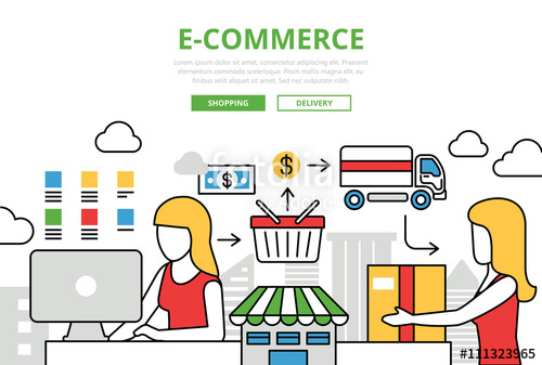 500x337 E Commerce Online Shopping Sale Delivery Vector Flat Line Art