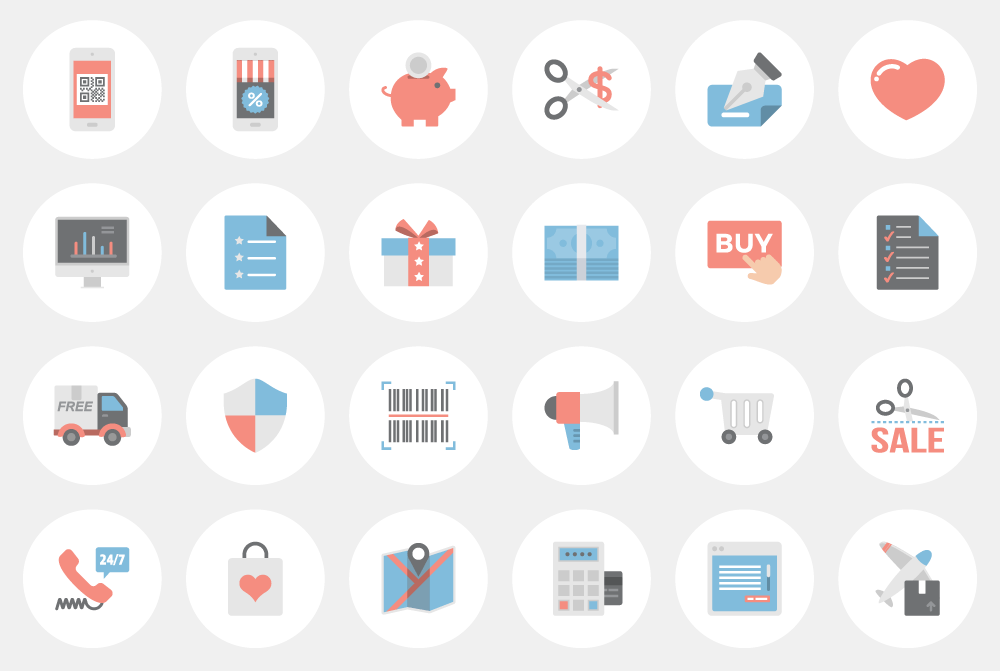 1000x671 Vector E Commerce Icon Set For Access All Areas Members