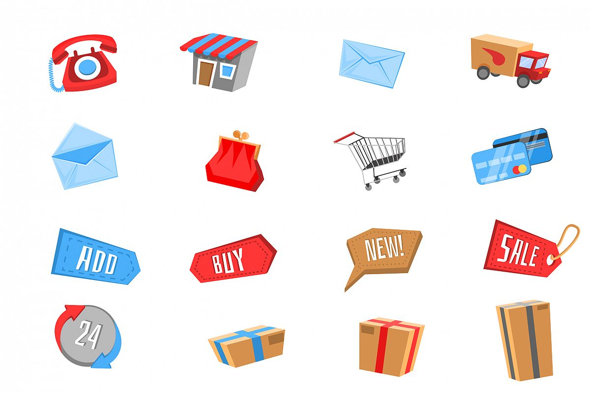 1200x800 Vector E Commerce Icon Set For Online Store Color + Bw